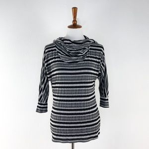 Bebe Gray & Black Striped Hooded Cowl Neck Top